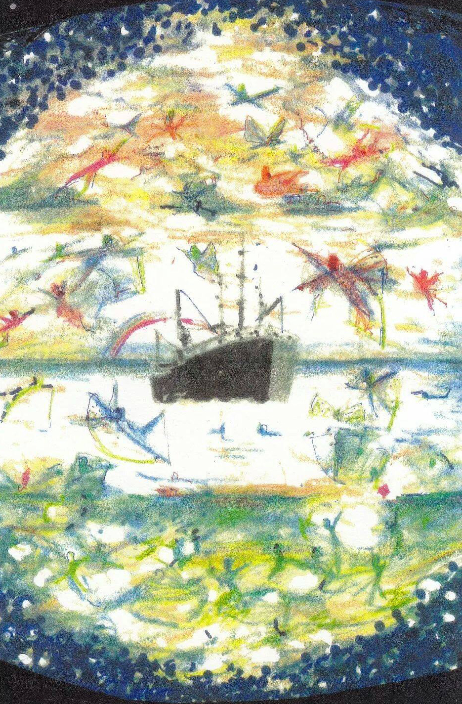 Sam Moree Art - The Four Elemental Families surrounding the boat